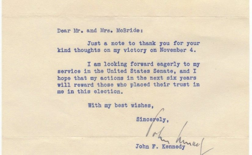 """John F. Kennedy – typed letter signed """"I am looking forward ...to my service..."""""""