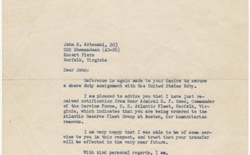 Congressman John F Kennedy uses his influence to obtain a shore assignment for a fellow veteran – fine typed letter signed