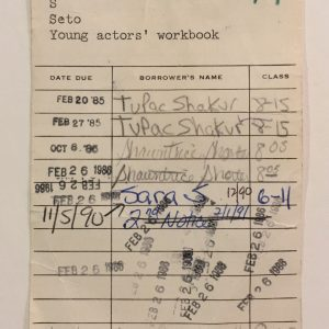 1985-tupac-shakur-signed-roland-park-middle-school-library-card-young-actors-workbook