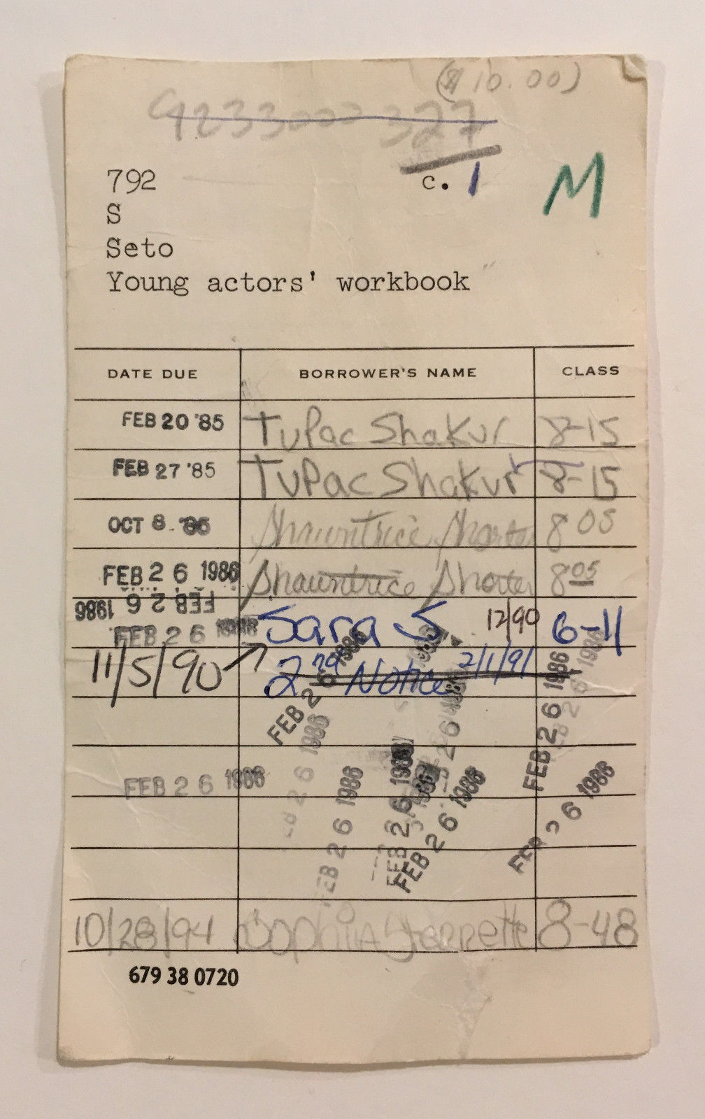 1985 Tupac Shakur Signed Roland Park Middle School Library Card YOUNG ACTORS WORKBOOK