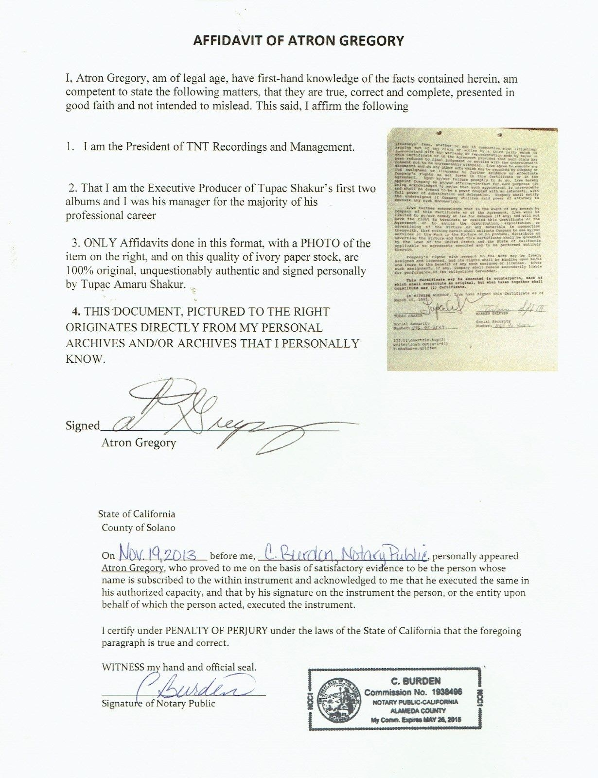 "Tupac Shakur 2Pac Signed Contract for ""Poetic Justice"" Soundtrack - JSA"